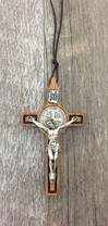 Large Olive Wood Benedictine Cross on Cord