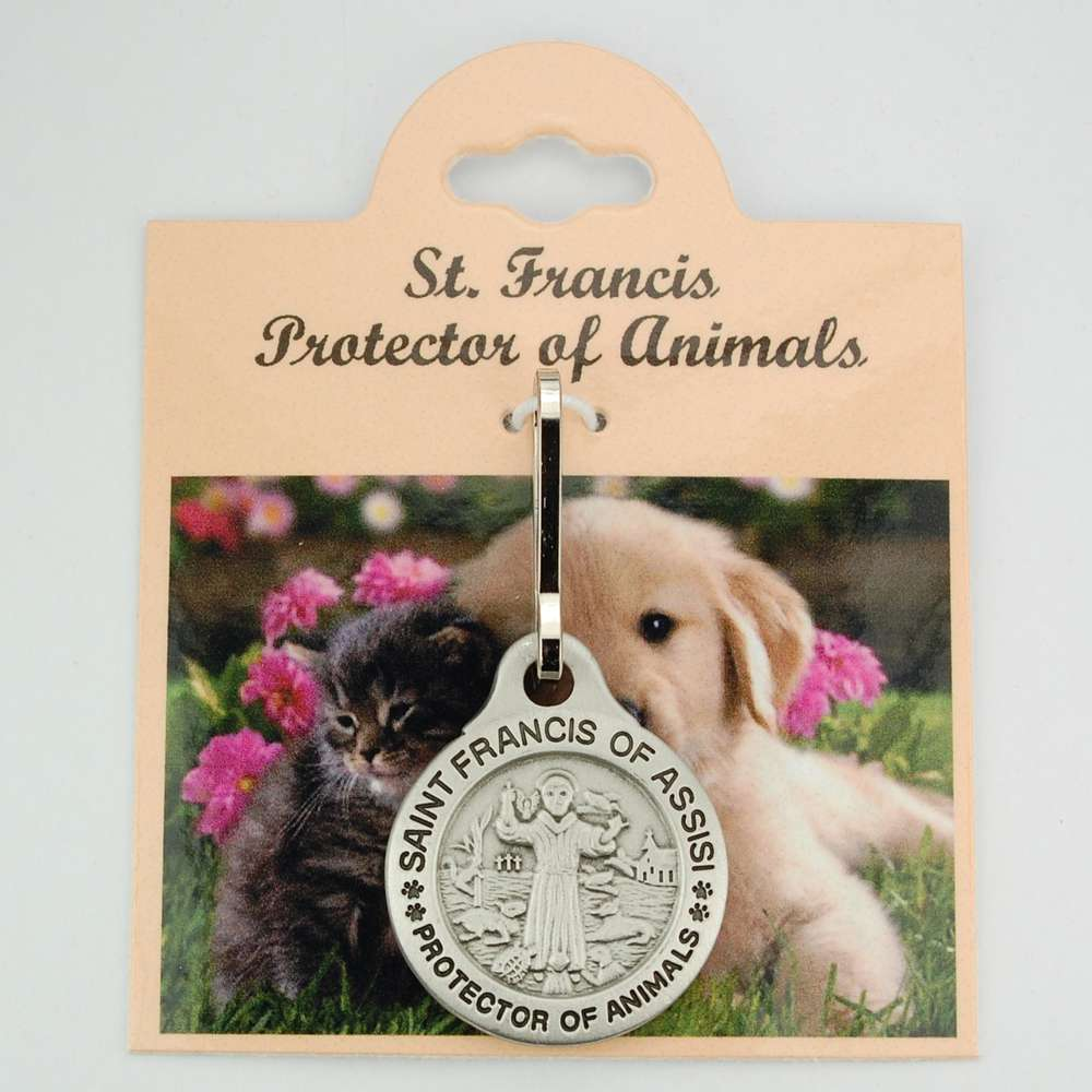 "Large Pewter St. Francis Pet Medal ""Protect My Pet"""