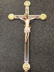 Large Wood Processional Crucifix with Base processional crucifix, processional cross, 6029, Bergland, wood carved crucifix, cathedral processional