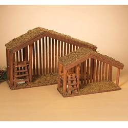 lighted wood nativity stable