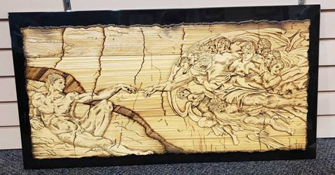 "Laser Carved Creation O/ Adam Plaque 31X16""/ Made In Italy Gift Boxed"