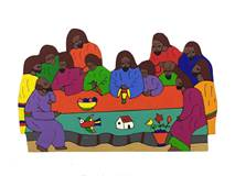 Last Supper Cutout Wood Wall Plaque from El Salvador
