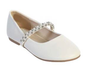Leatherette flats with rhinestone and pearl strap, White First Communion Shoe