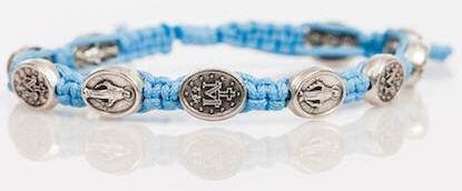Light Blue and Silver Miraculous Medal Blessing Bracelet