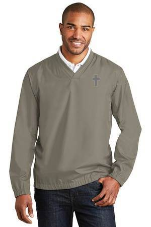 Clergy V-Neck Golf Windbreaker, Light Grey priest apparel, priest pullover, priest shirt, clergy apparel, clergy golf shirt