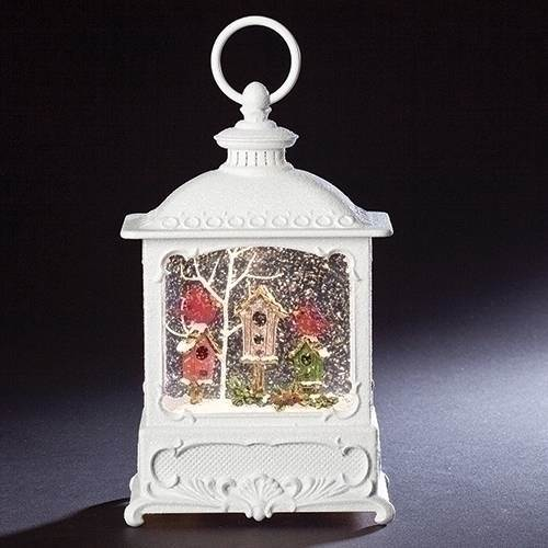 "CONTINUOUS MOTION! ?LED Lighted Birdhouse Water/Glitter Swirl Lantern ?Batteries not included; measures 8.75"" tall x 5.5"" wide x 3.375"" deep"