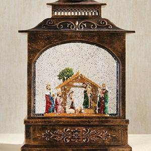 Lighted Nativity Water Lantern 11""