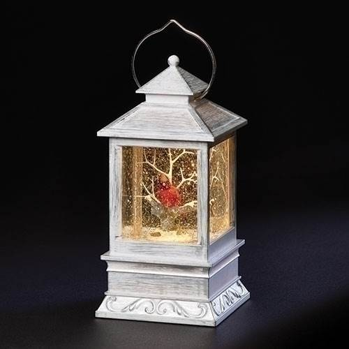 "CONTINUOUS MOTION!!! 8.5"" LED Lighted Cardinal Lantern with continuous swirl glitter water inside"