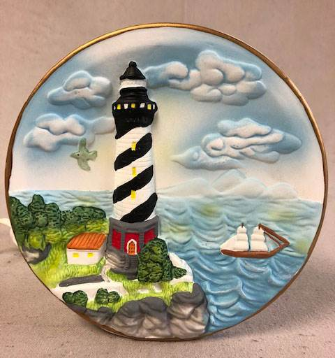 "Lighthouse Porcelain Night Light 6"" x 6"" 