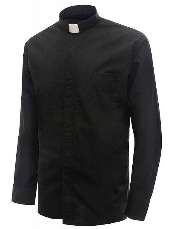 Long Sleeve Clergy Shirt-Black 65% Poly/35% Cotton clergy shirts, long sleeve, poly cotton blend, church apparal, mario bianchetti,