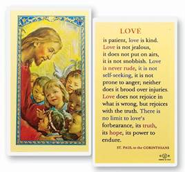 Love Is Patient Holy Card
