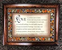 Love Is Patient, Love Is Kind Jeweled Amber Music Box Plays: Amazing Grace