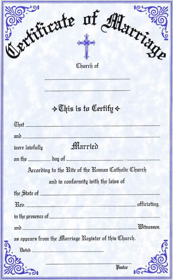 Marriage Certificate certificate, church goods, sacramental certificates, baptism, first communion, confirmation, marriage, death,