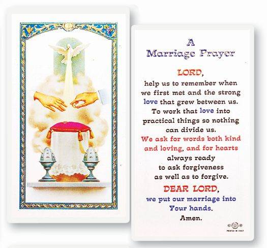 Marriage Prayer Holy Card