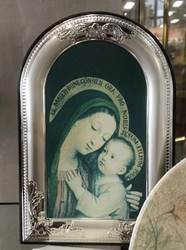 Mary And Jesus Canvas in Silver Frame on Wood Back from Italy