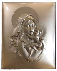 Madonna and Child ?Silver/Wood Plaque from Italy ?Silver over aluminum in design with solid wood backing which can stand or hang. 9.5 inch x 7.75 inch tall. Stunning piece of religious art from Italy!