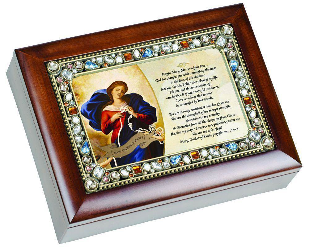 Mary Undoer of Knots Jeweled Music Box pope francis, music box, keepsake box, pope prayer, ave maria, jeweled box, JM155SW