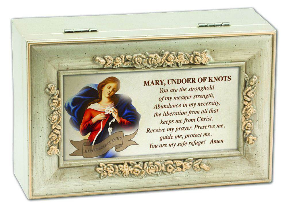 Mary Undoer of Knots Petite Rose Music Box pope francis, music box, keepsake box, undoer of knots prayer, ave maria, jeweled box, pr204sc