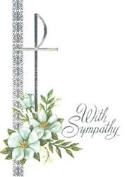 Mass Card Deceased 100/Box With Silver Foil Embossing With Sympathy""