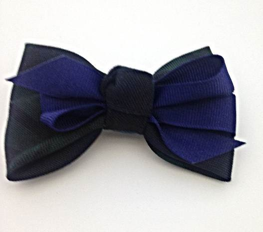 Medium Ponytail Bow on Barrette with Ribbon  #77