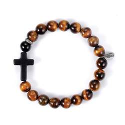 Mens Faith Bracelet Black Cross/Tiger Eye Beads