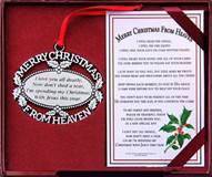 Merry Christmas From Heaven Ornament & Card/Bookmark Set