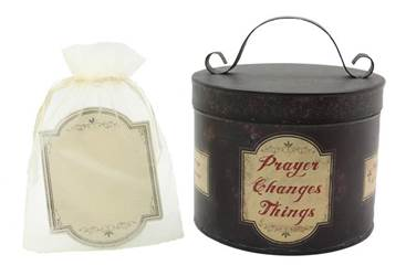 "Metal ""Prayer Changes Things"" Bucket with Cards  *WHILE SUPPLIES LAST*"