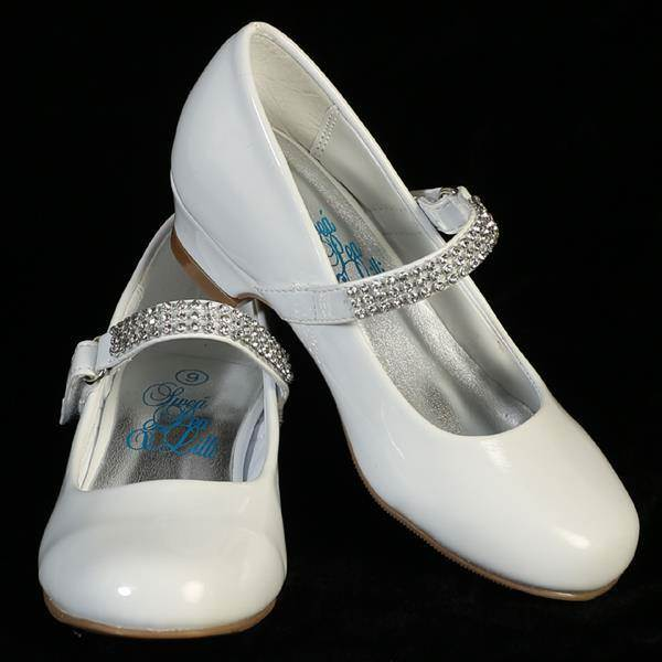 "Mia First Communion Shoe 1"" heel shoes with rhinestone strap"