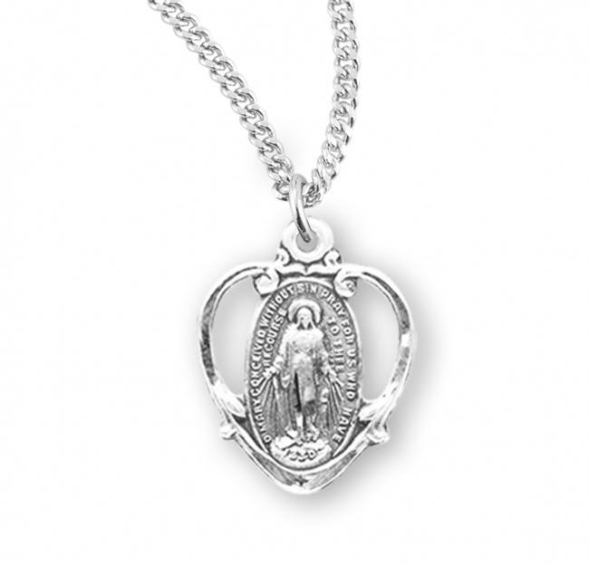 "Miraculous Heart Shaped Sterling Silver Medal on 18"" Chain"