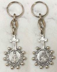 "??Keychain with a Miraculous Mary Medal on one side and St. Christopher (patron saint of travel) on other side   overall 4"" long; Religious key ring from Italy"