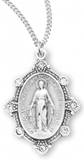 "Miraculous Medal with Crystal Stones Sterling Silver with an 18"" Chain"
