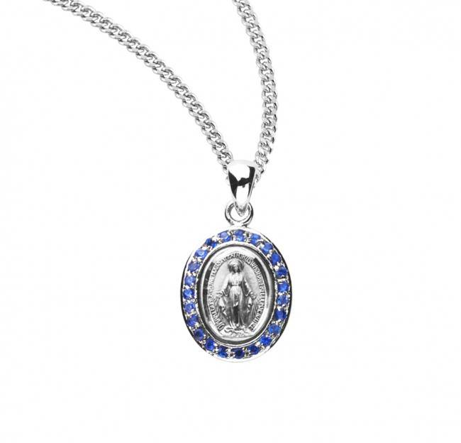 "Miraculous Sterling Silver Sapphire Cubic Zirconia Medal on 18"" Chain"