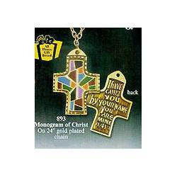 "Mosaic Cross Pendant cross pendant, mosaic cross, gold plated  chain, 24"" chain, liturgical pendant, liturgical cross, 18930"