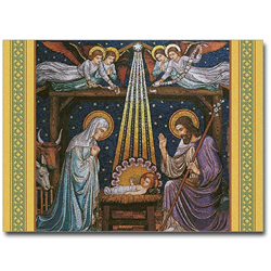 "Mosaic Nativity Boxed Christmas Card Inside reads: ""Rejoice! Unto us is born a Savior, who is Christ the Lord."" Box of 20 4.5""x6"" cards / 21 envelopes Made in USA"
