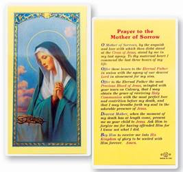 Mother Of Sorrow Holy Card