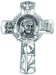 Mother Teresa Pewter Wall Cross wall cross, patron saint cross, pewter cross, baptism cross, first communion cross, reconciliation cross, confirmation cross, christening cross, eucharist cross, sacramental gift, baptism gift, christening gift, special occasion gift