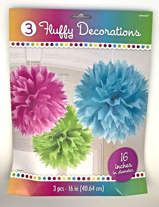 Multi-Colored Fluffy Paper Decorations
