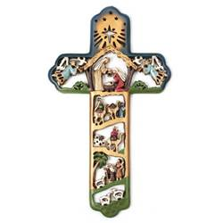 Multicolor Nativity Cross wall cross, colorful wall cross, cross, wood wall cross, retro wall cross, christmas cross, nativity cross, christmas gift, chwcr-302