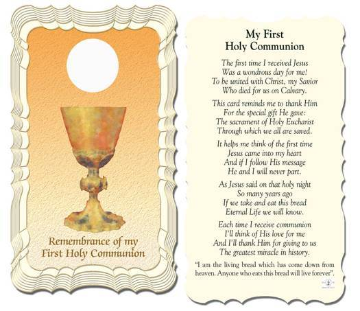My First Communion Holy Card With Gold Edges