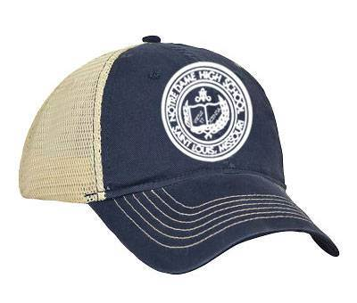 ND Navy/Stone Embroidered Crest Trucker Cap