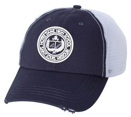 ND Organic Cotton Mesh Distressed Navy/White Trucker Ball Cap