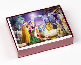 Nativity Deluxe Boxed Christmas Cards, 15 Cards with 16 Gold Foil Envelopes