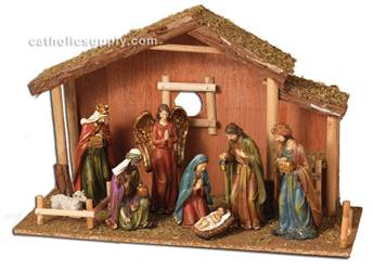 "9 Pc 22""L Resin Nativity Scene With Moss Stable"