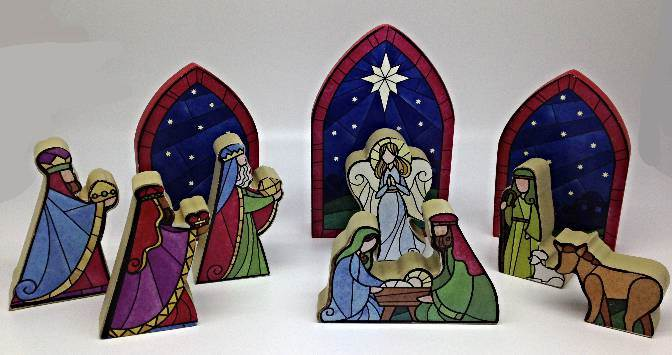 10 Piece Wood Nativity Set