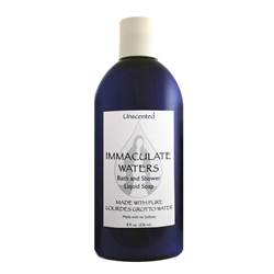 Natural Unscented Bath and Shower Liquid Soap, Made with Lourdes Water