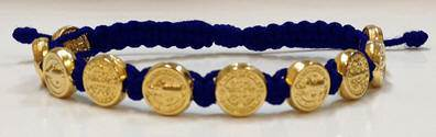 Navy/Gold Benedictine Bracelet bracelet, blessing bracelet, medjugorje bracelet, st benedict bracelet, colored bracelet, handmade bracelets, girl gift, boy gift, sacramental gift, healing gift, prayer gift, first communion gift, reconciliation gift, confirmation gift, graduation gift, quantity discounts,