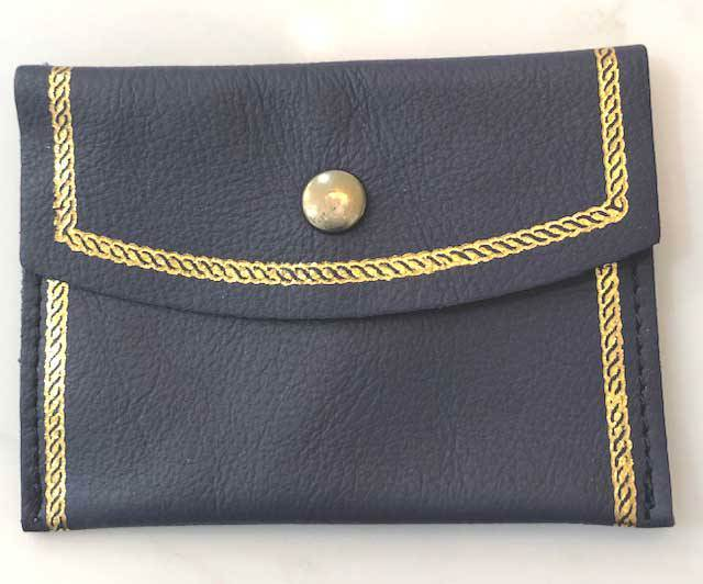 Navy Leather Snap Rosary Case from Italy