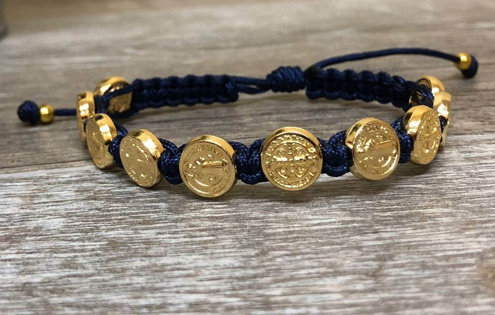 Navy and Gold St. Benedict Blessing Bracelet with Story Card