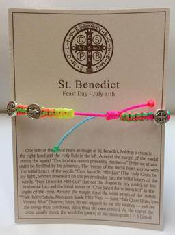 Neon/Silver St. Benedice Blessing Bracelet with Story Card - 04114