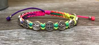 Neon and Silver St. Benedict Blessing Bracelet with Story Card